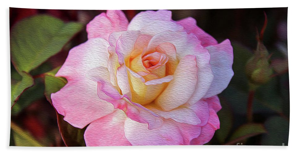 Rose Hand Towel featuring the digital art Peach And White Rose by Bill And Deb Hayes