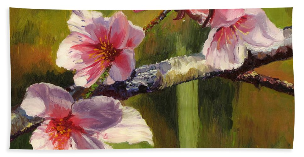 Flower Bath Sheet featuring the painting Peach Blossom Time by Lea Novak
