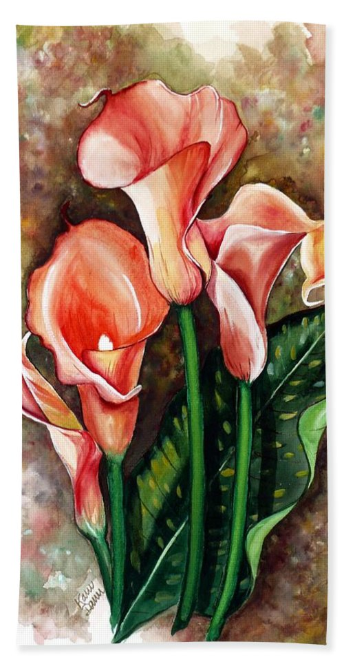Calla Lily Painting Flower Painting Lilies Painting Peach Painting Pink Painting Floral Painting Bloom Painting Greeting Card Painting Bath Sheet featuring the painting Peach Callas by Karin Dawn Kelshall- Best