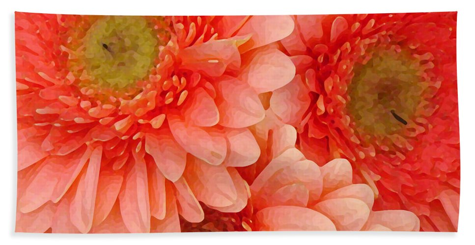 Floral Bath Towel featuring the painting Peach Gerbers by Amy Vangsgard
