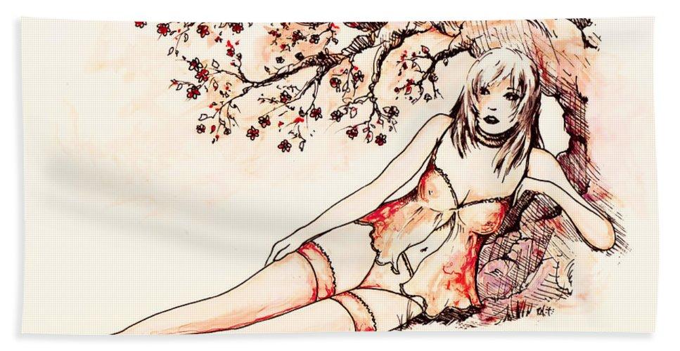 Figure Bath Sheet featuring the drawing Peach by Rachel Christine Nowicki