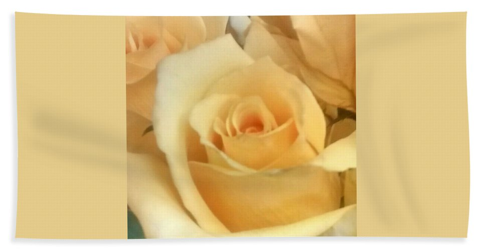 Peach Hand Towel featuring the photograph Peach Rose by Sylvester Wofford