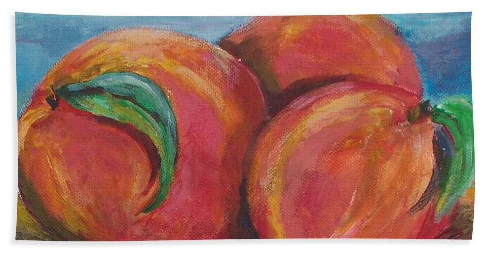 Peaches Hand Towel featuring the painting Peaches by Eric Schiabor