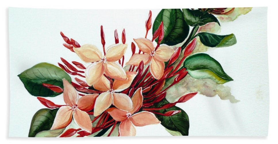 Floral Peach Flower Watercolor Ixora Botanical Bloom Bath Towel featuring the painting Peachy Ixora by Karin Dawn Kelshall- Best