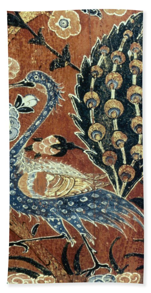 1600 Bath Sheet featuring the photograph Peacock Among Flowers by Granger