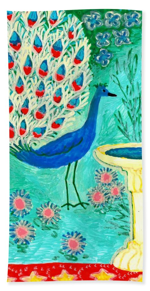 Sue Burgess Bath Sheet featuring the painting Peacock And Birdbath by Sushila Burgess