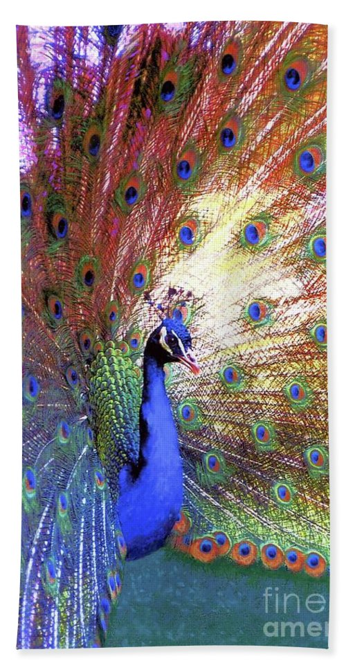 Peacock Hand Towel featuring the painting Peacock Beauty Colorful Art by Jane Small