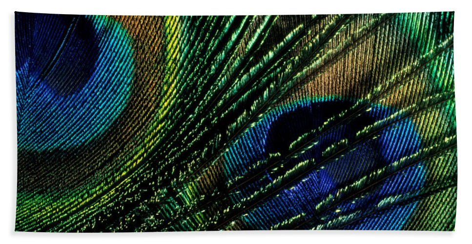 Peacock Hand Towel featuring the photograph Peacock Eyes by Jerry McElroy