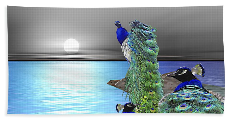 Peacocks Hand Towel featuring the painting Peacock Fantasy by Susanna Katherine