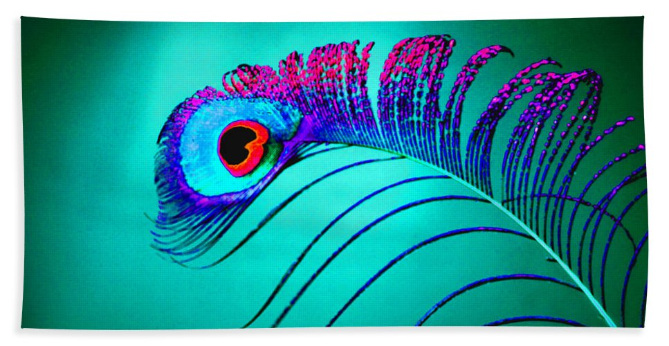 Peacock Hand Towel featuring the photograph Peacock Feathers 5 by Tina Meador