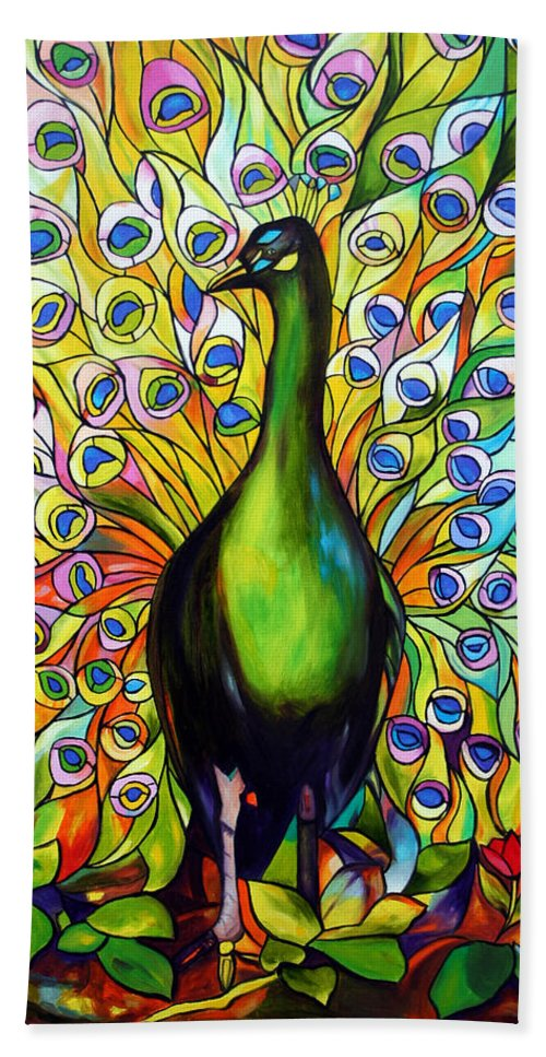 Bird Bath Towel featuring the painting Peacock by Jose Manuel Abraham