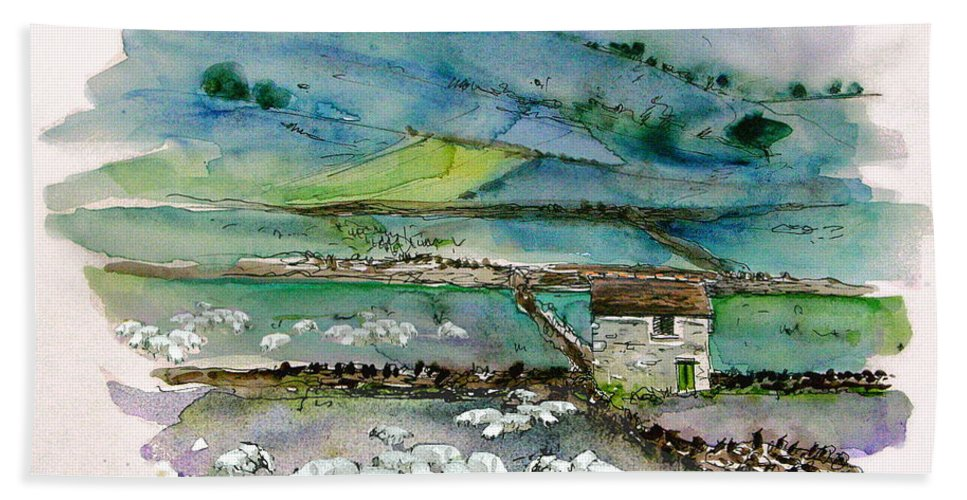 Paintings England Watercolour Travel Sketches Ink Drawings Art Landscape Paintings Town Hand Towel featuring the painting Peak District Uk Travel Sketch by Miki De Goodaboom