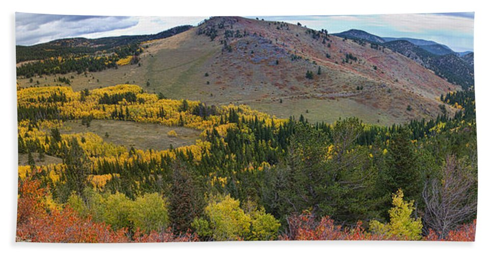 Colorful Hand Towel featuring the photograph Peak To Peak Highway Boulder County Colorado Autumn View by James BO Insogna