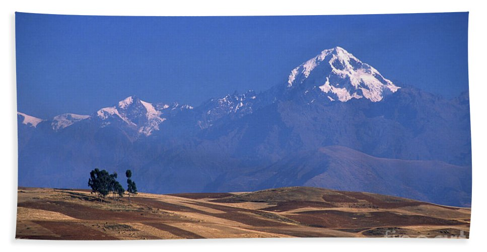 Peru Hand Towel featuring the photograph Peaks And Fields Near Cusco Peru by James Brunker