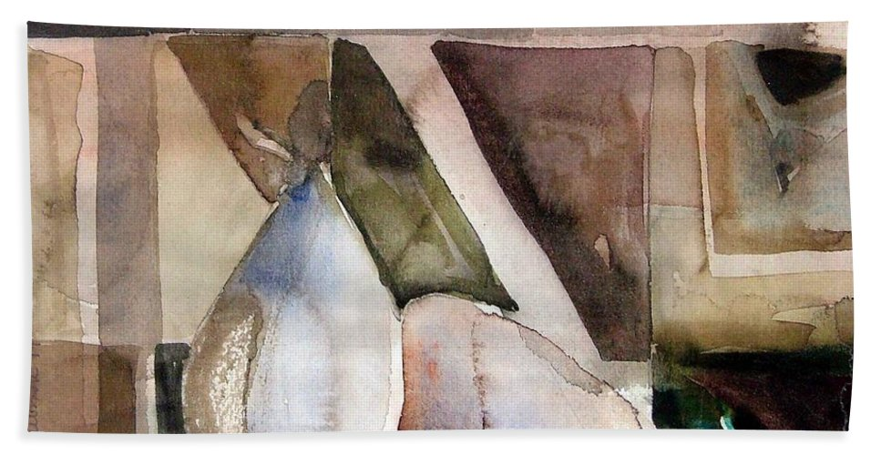 Pear Hand Towel featuring the painting Pear Study In Watercolor by Mindy Newman