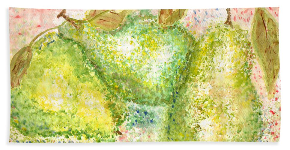 Watercolor Hand Towel featuring the painting Pear Trio by Paula Ayers