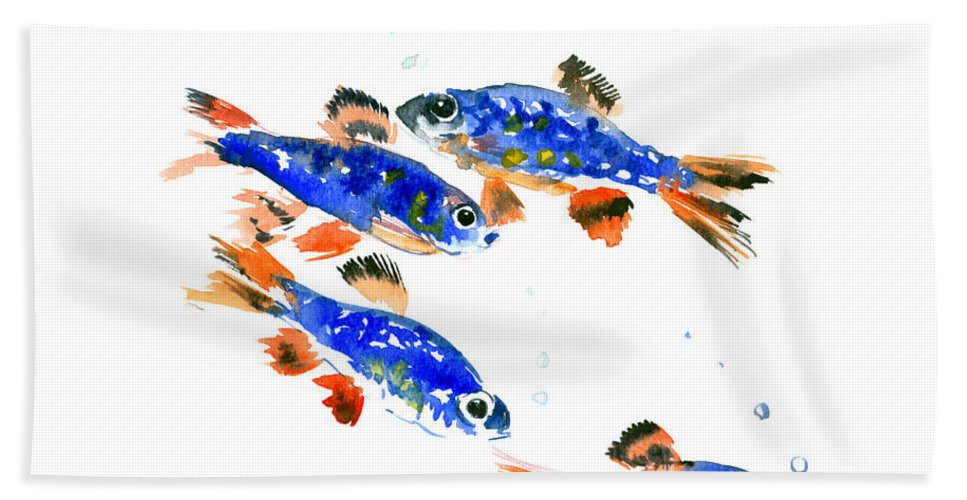 Danio Hand Towel featuring the painting Pearl Danio by Suren Nersisyan