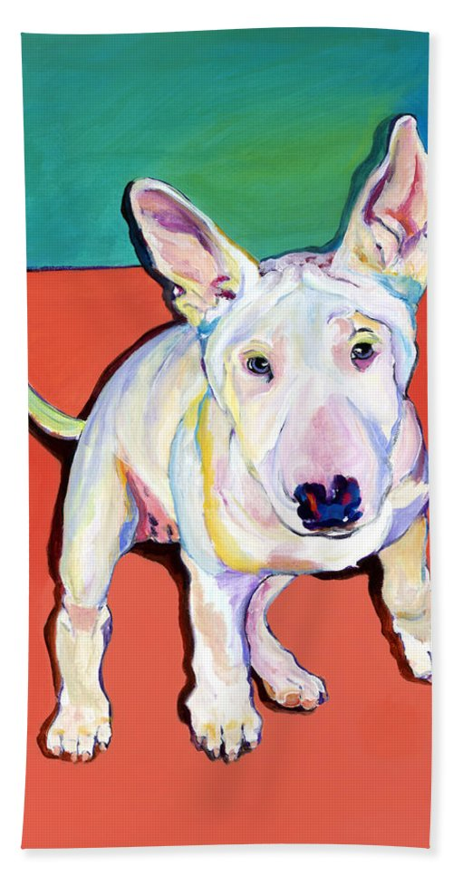 Pet Portrait Commissions Hand Towel featuring the painting Pearl by Pat Saunders-White