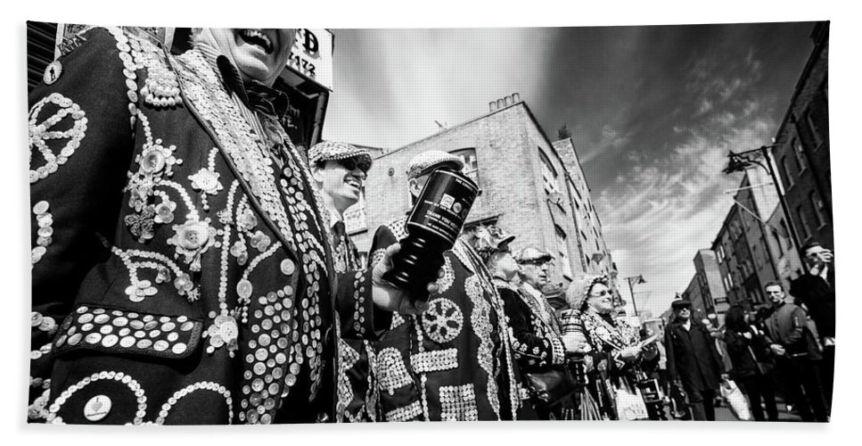 Pearly Bath Sheet featuring the photograph Pearly Kings And Queens Of London Hoxton Brick Lane by John Williams