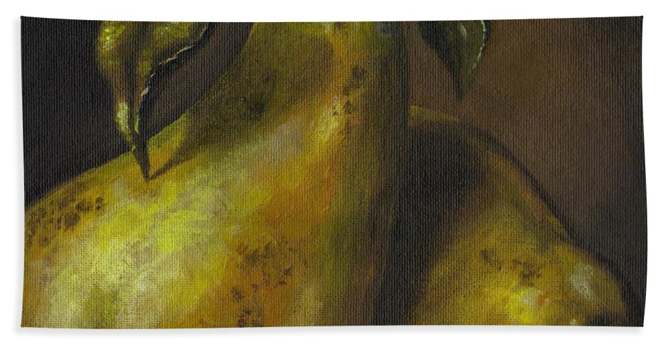 Still Life Hand Towel featuring the painting Pears by Adam Zebediah Joseph