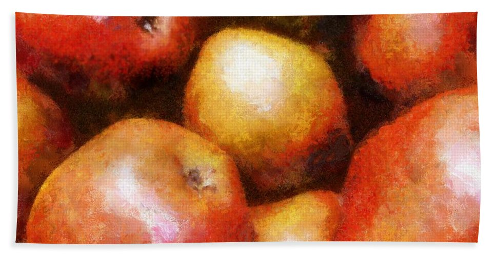 Fruit Bath Sheet featuring the painting Pears D'anjou by RC DeWinter