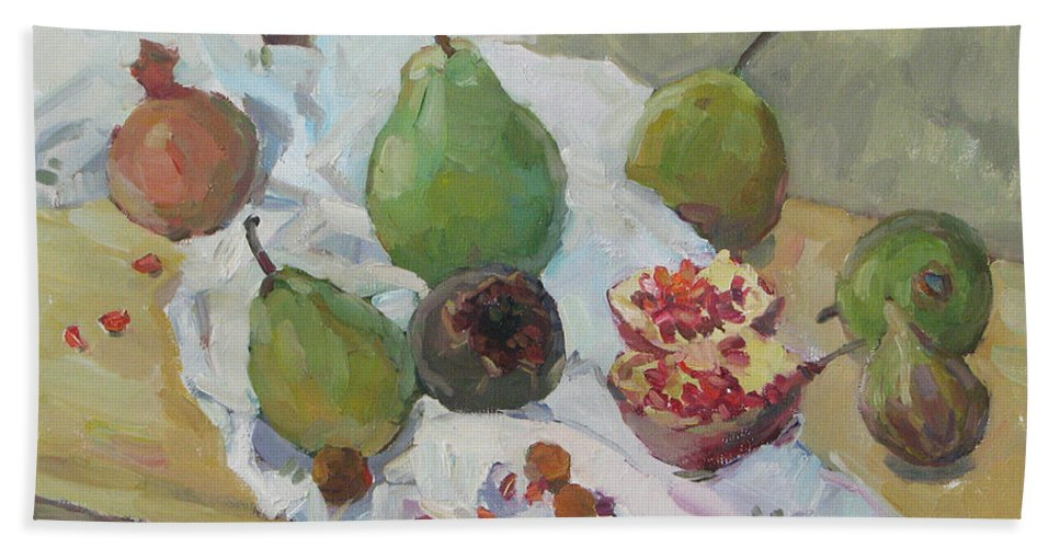 Nature Bath Sheet featuring the painting Pears Figs And Young Pomegranates by Juliya Zhukova