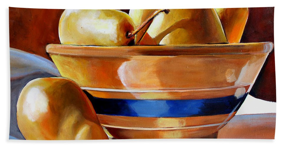 Yelloware Hand Towel featuring the painting Pears In Yelloware by Toni Grote