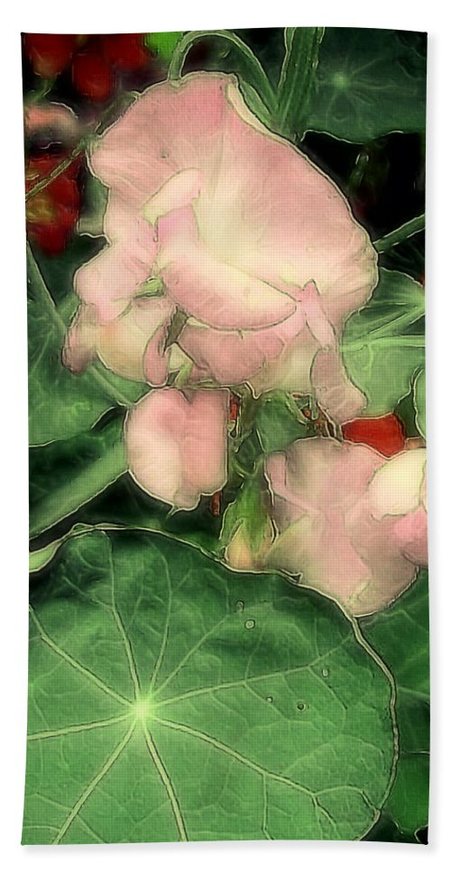Flowers Bath Sheet featuring the painting Peas Porridge by RC DeWinter
