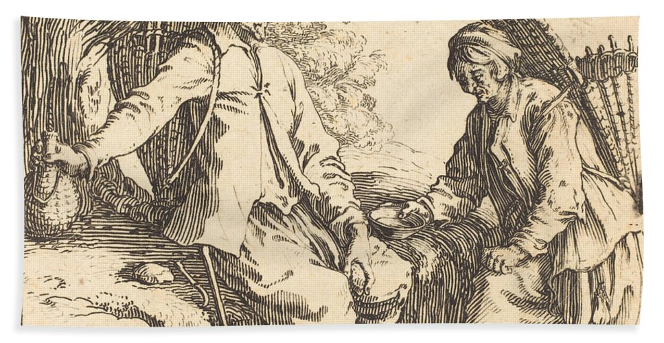 Hand Towel featuring the drawing Peasant Couple At Rest by Jacques Callot