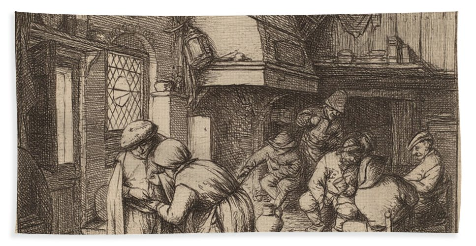 Hand Towel featuring the drawing Peasant Settling His Debt by Adriaen Van Ostade