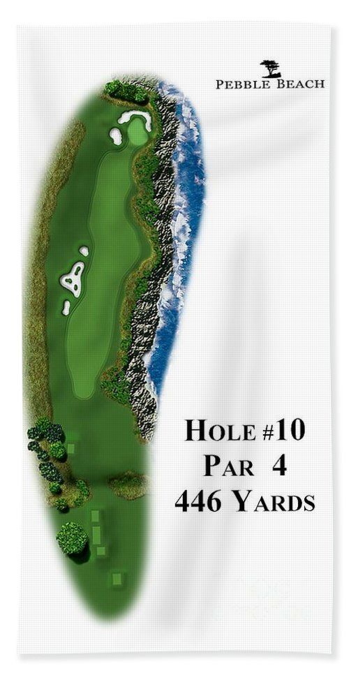 Golf Course Hand Towel featuring the digital art Pebble Beach No 10 by Spencer McKain