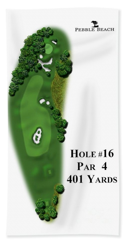 Golf Course Hand Towel featuring the digital art Pebble Beach No 16 by Spencer McKain