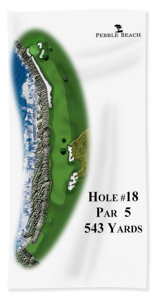 Golf Course Hand Towel featuring the digital art Pebble Beach No 18 by Spencer McKain
