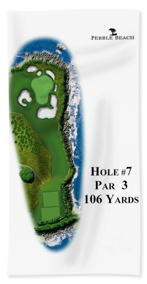 Golf Course Hand Towel featuring the digital art Pebble Beach No 7 by Spencer McKain