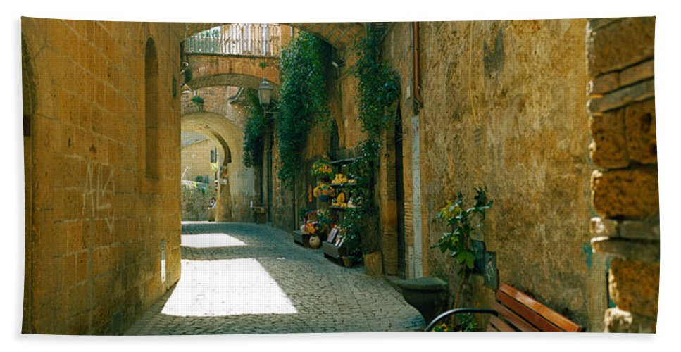 Photography Bath Sheet featuring the photograph Pedestrian Walkway, Orvieto, Umbria by Panoramic Images