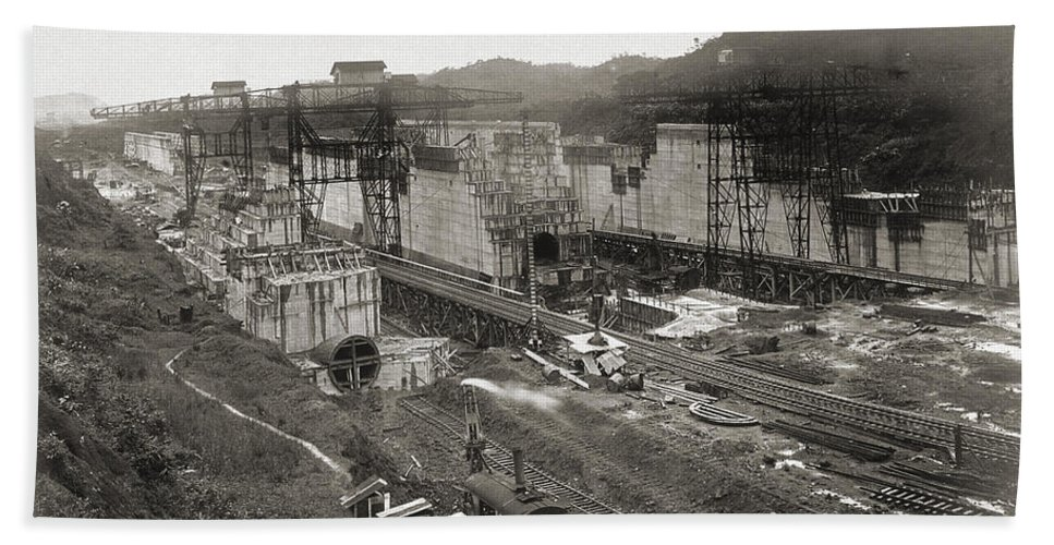 Historic Hand Towel featuring the photograph Pedro Miguel Locks, Panama Canal, 1910 by Wellcome Images