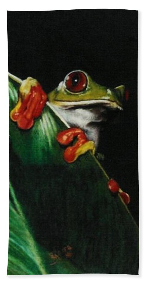Frog Hand Towel featuring the drawing Peek-a-boo by Barbara Keith