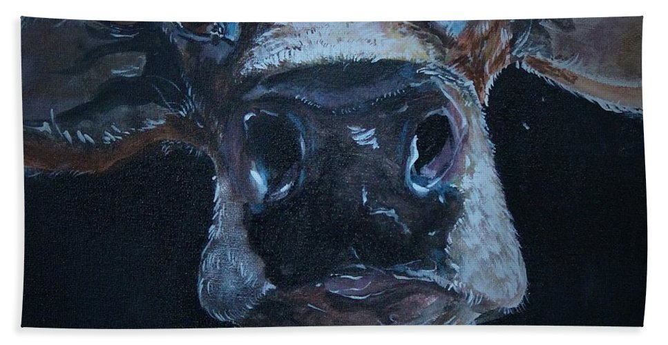 Cow Hand Towel featuring the painting Peekaboo Moo by Satu Pirinen