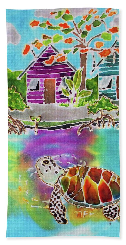 Bahamas Art Bath Towel featuring the painting Peepin Tom by Tiff