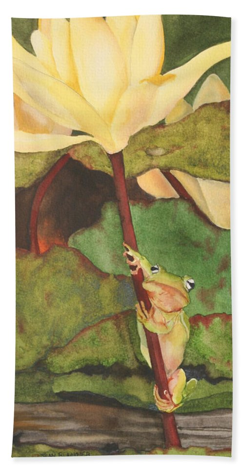 Frog Hand Towel featuring the painting Peeping Tom by Jean Blackmer