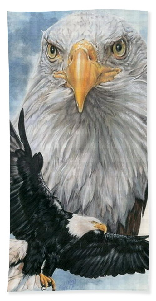 Bald Eagle Hand Towel featuring the mixed media Peerless by Barbara Keith