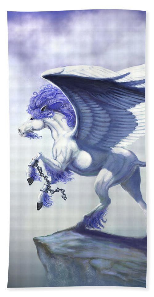 Pegasus.fantasy Bath Sheet featuring the digital art Pegasus Unchained by Stanley Morrison