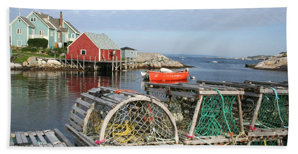 Peggy\\ Bath Towel featuring the photograph Peggys Cove And Lobster Traps by Thomas Marchessault