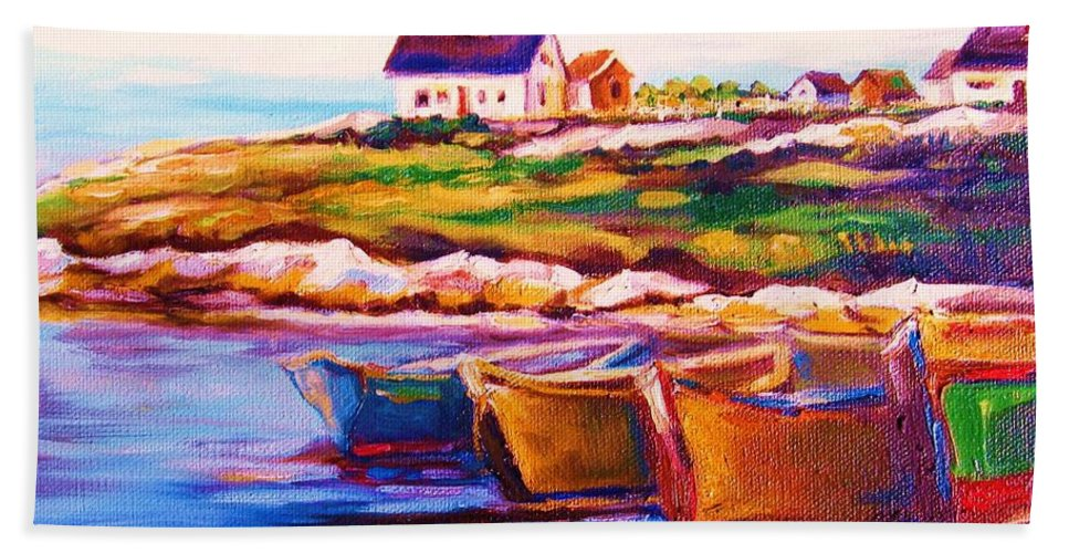 Row Boats Hand Towel featuring the painting Peggys Cove Four Row Boats by Carole Spandau
