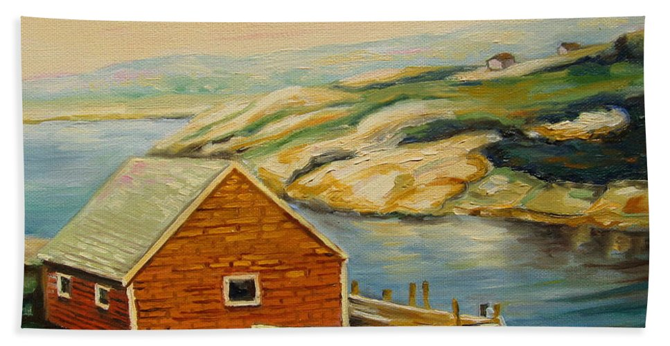Peggy's Cove Harbor View Bath Towel featuring the painting Peggys Cove Harbor View by Carole Spandau