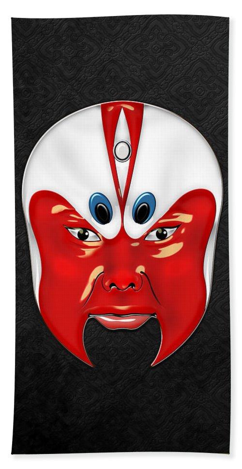 Treasures Of China By Serge Averbukh Hand Towel featuring the photograph Peking Opera Masks - Wen Zhong by Serge Averbukh