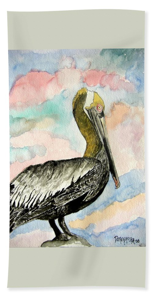 Watercolor Hand Towel featuring the painting Pelican 2 by Derek Mccrea