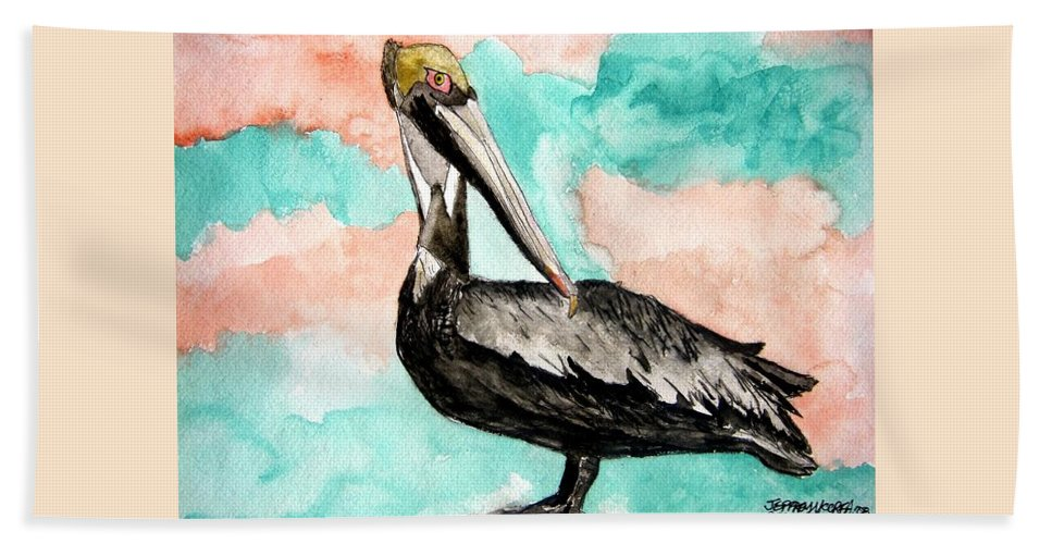 Bird Hand Towel featuring the painting Pelican 3 by Derek Mccrea
