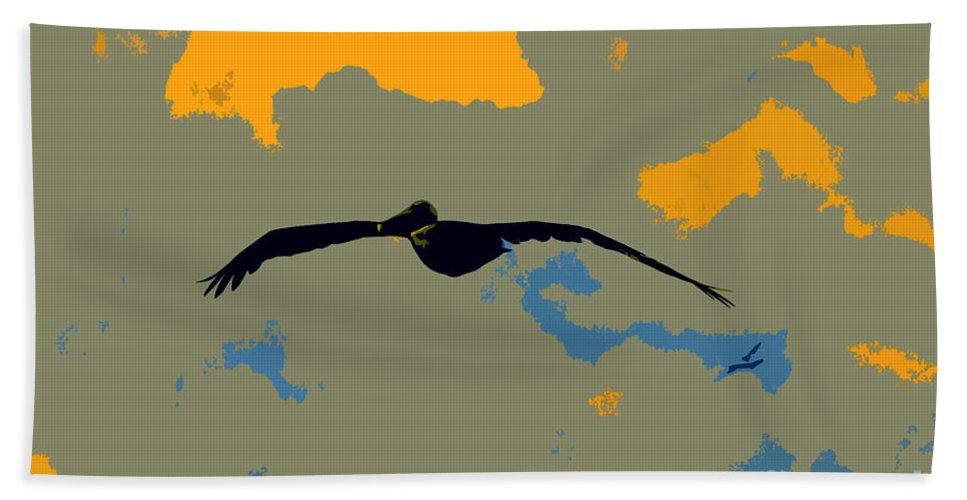 Pelican Bath Towel featuring the photograph Pelican And Airplane by David Lee Thompson