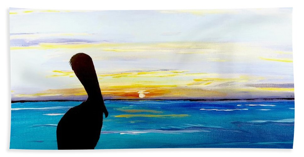 Sunset Painting Bath Sheet featuring the painting Pelican Bay by Carol Blackhurst